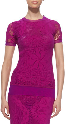 Jean Paul Gaultier Lace & Crochet Georgette-Trim Tee