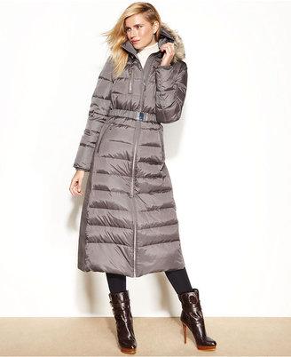 MICHAEL Michael Kors Hooded Faux-Fur-Trim Belted Maxi Puffer