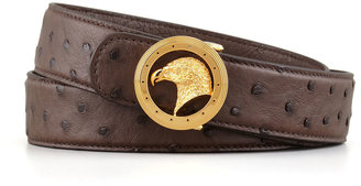 Stefano Ricci Eagle Head Ostrich Belt with Round Buckle, Brown