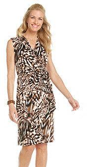 Evan Picone EvanPicone Evan-Picone® Vneck Surplice Ruched Side Printed Dress