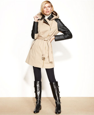 MICHAEL Michael Kors Faux-Leather-Trim Belted Trench Coat