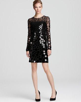 BCBGMAXAZRIA Paillette Dress - Ayla Long Sleeve