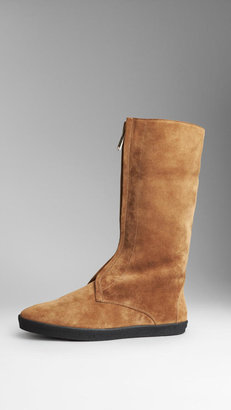 Burberry Shearling-Lined Suede Weather Boots