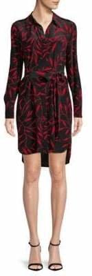 Diane von Furstenberg Spread Collar Silk Shirtdress