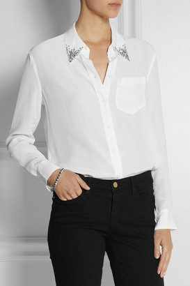 Equipment Reese crystal-embellished washed-silk shirt