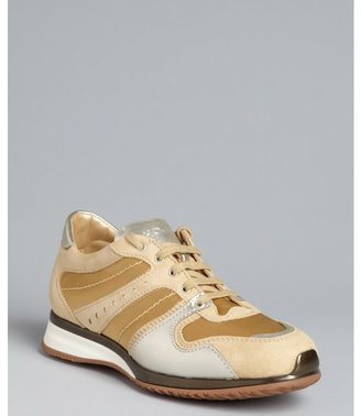 Hogan gold nylon and suede lace up sneakers