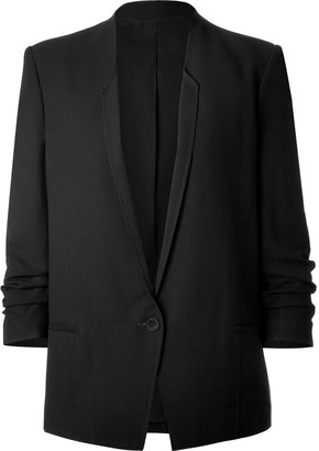 Helmut Lang Slouchy Cropped Sleeve Blazer