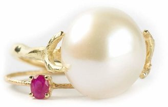 Wouters & Hendrix Gold pearl & ruby set of rings