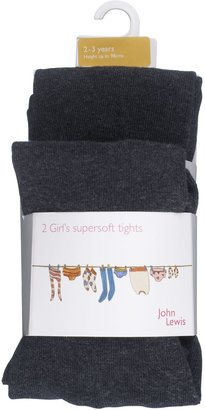 John Lewis & Partners Girls' Cotton Tights, Pack of 2