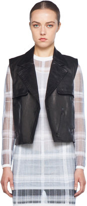Alexander Wang Asymmetric Zip Leather Vest in Black