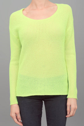 Dear Cashmere Long Sleeve Waffle Sweater Lemon