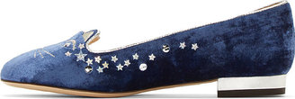 Charlotte Olympia Navy Velvet Silver Sequined Party Kitty Flats