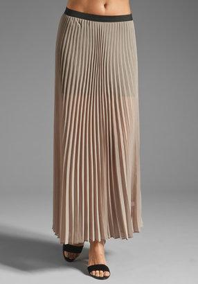Monrow Poly Chiffon Pleated Maxi Skirt