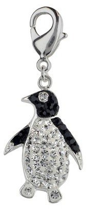 Roman & Sunstone Women's Jezlaine® Charm Silver Plated Penguin - Silver/Black/Clear