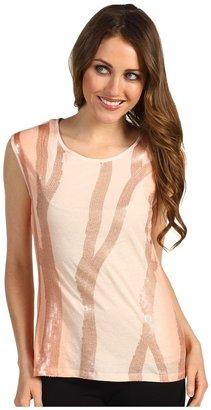 Calvin Klein Sequin Stripe Tank Top (Petal) - Apparel