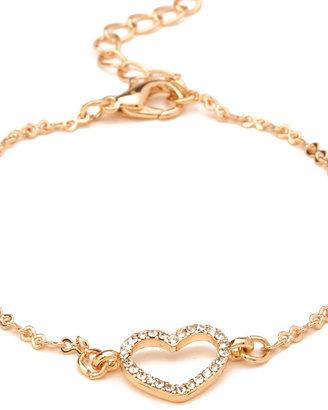 Forever 21 Cutout Heart Charm Bracelet
