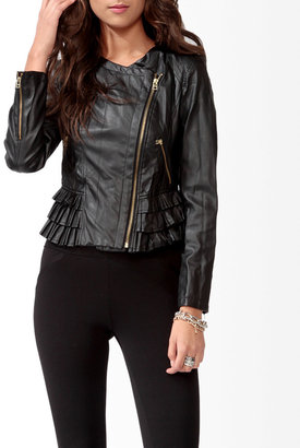 Forever 21 Pleated Hem Moto Jacket