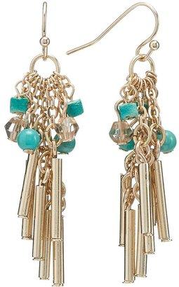Apt. 9 gold tone bead cluster drop earrings