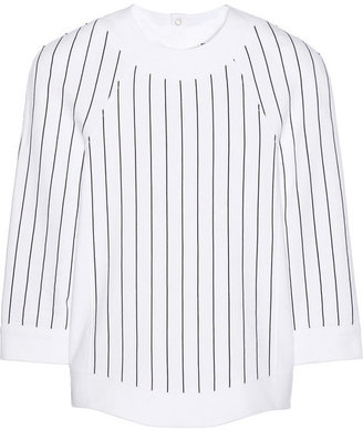Pinstriped cotton French terry sweatshirt