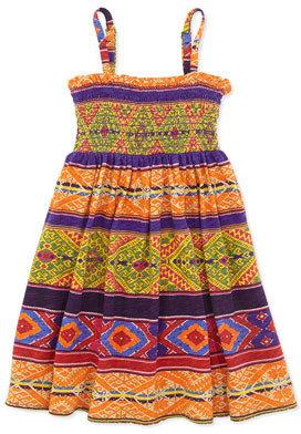 Ralph Lauren Smocked Geometric-Print Dress, Multi, Toddler Girls' 2T-3T