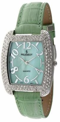 Peugeot Women's Oval Silver-Tone Crystal Bezel Leather Strap Watch 342MT