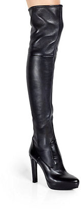 Prada Stretch Leather Over-The-Knee Platform Boots