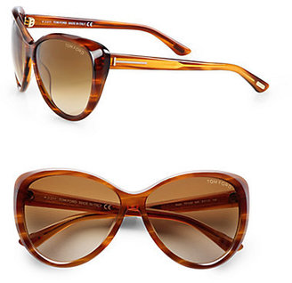 Tom Ford Malin Beveled Plastic Oversized Sunglasses/Brown