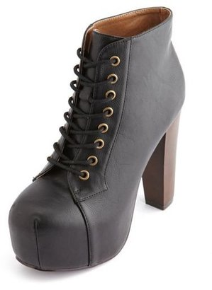 Charlotte Russe Lace-Up Wooden Heel Bootie