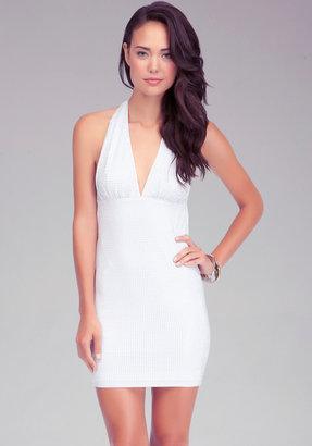 Bebe Allover Studded Halter Dress