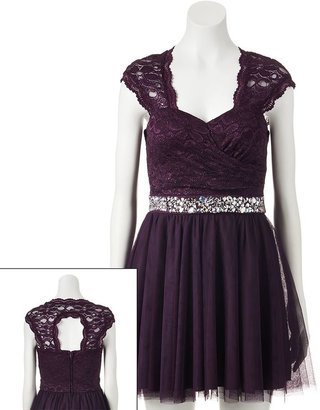 Trixxi lace open back dress - juniors