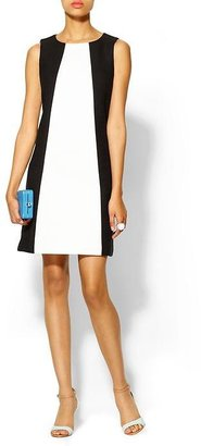 Tibi Seamed Shift Dress w/Basketweave Combo