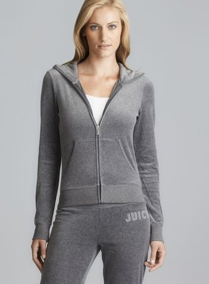 Juicy Couture Gray Back Sparkle Logo Hoodie
