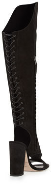 Brian Atwood Brissa Peep-Toe Lace-Back Knee Boot