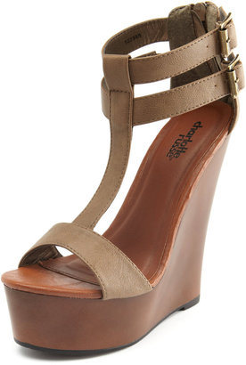 Charlotte Russe Neutral T-Strap Wooden Wedge