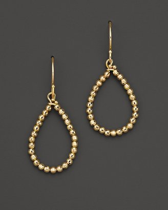 Mizuki 14K Yellow Gold Faceted Bead Small Teardrop Hoop Earrings