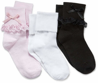 Asstd National Brand Jacques Mort 3-pk. Lace-Trim Dress Socks - Girls