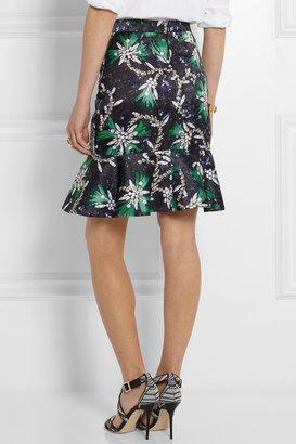 Mary Katrantzou Genero flared jewel-print satin skirt