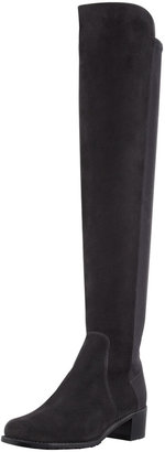 Stuart Weitzman Reserve Wide Suede Stretch-Back Over-the-Knee Boot, Black