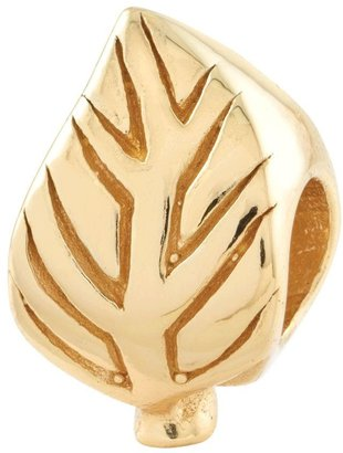 Prerogatives 14K Yellow Gold-Plated Sterling Leaf-Design Bead