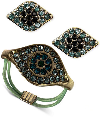 Rachel Roy Jewelry Set, Worn Gold-Tone Blue Crystal Evil Eye Ring and Stud Earrings