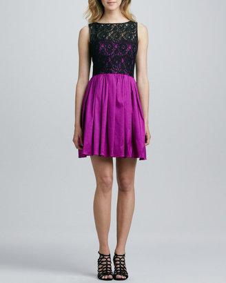 Aidan Mattox Aidan by Lace Bodice Party Dress