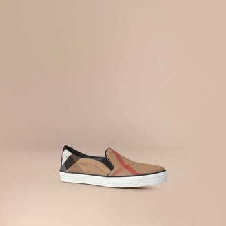 Burberry Check Slip-On Trainers , Size: 36, Black