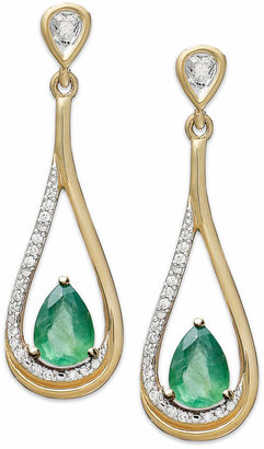 Macy's 14k Gold Earrings, Emerald (3/4 ct. t.w.) and Diamond (1/10 ct. t.w.) Pear-Shaped Drop Earrings