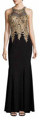 Xscape Evenings Embellished Illusion Lace Sheath Gown
