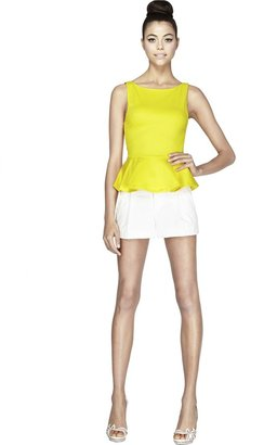 Alice + Olivia Sleeveless Ponti Peplum Top