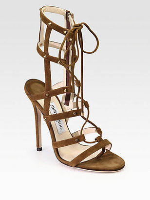 Jimmy Choo Manous Suede Lace-Up Ankle Boots