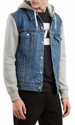 Levi's Hybrid Fleece Denim Hooded Trucker Jacket