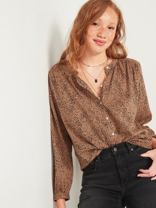 Old Navy Oversized Printed Button-Front Blouse for Women