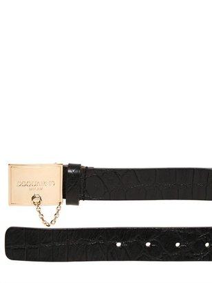 DSquared 30mm Crocodile Embossed Leather Belt