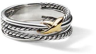 David Yurman X Crossover Ring With 18K Yellow Gold